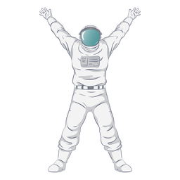 Semi flat open arms astronaut character