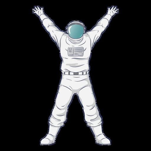 Carácter de astronauta de brazos abiertos semi planos