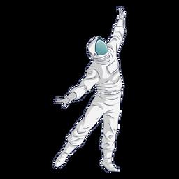 Brazos extendidos bailando personaje de astronauta.