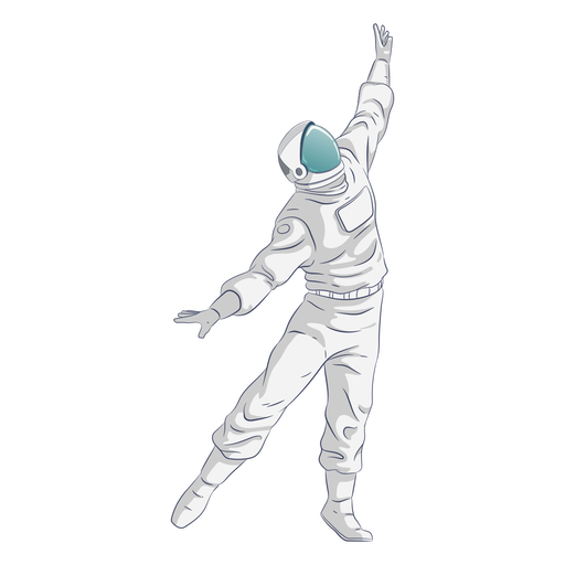 Arms extended dancing astronaut character