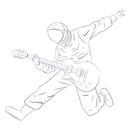 Astronaut playing guitar character