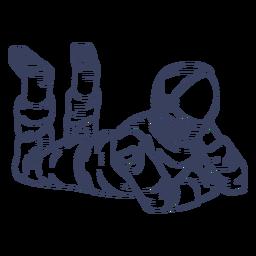 Astronaut lying line art character
