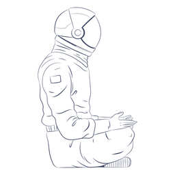 Astronaut sitting line art character