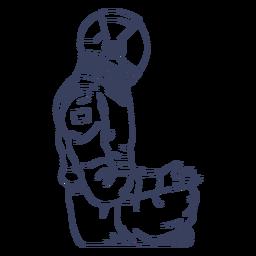 Astronauta sentado personaje de arte de línea.