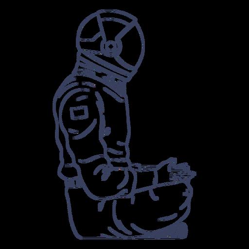 Astronaut sitting line art character