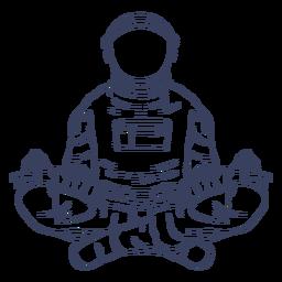 Personaje de arte de línea de yoga astronauta