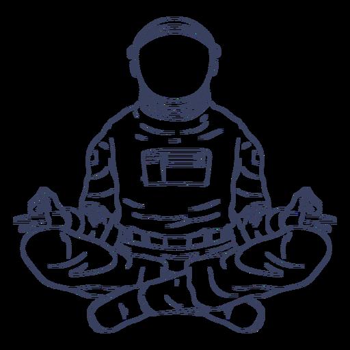 Astronaut yoga line art character Transparent PNG