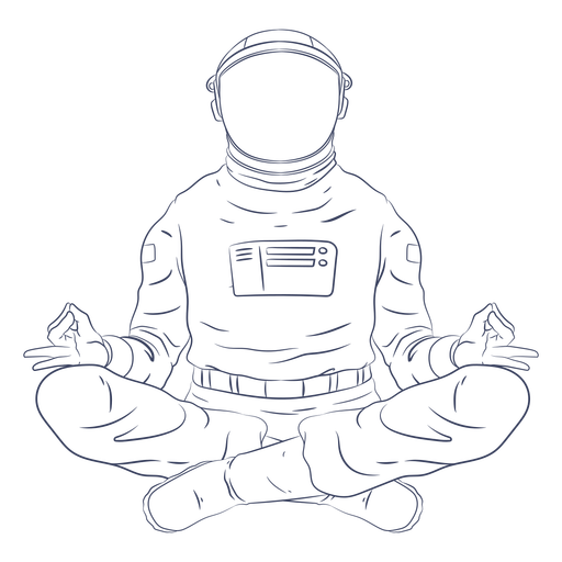 Personagem de arte em linha de ioga de astronauta