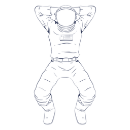 Astronaut chilling line art character