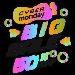 Crachá retro da venda Cyber segunda-feira