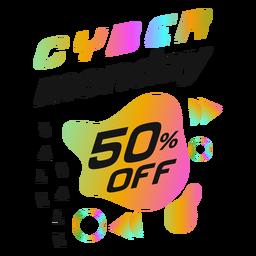 Crachá retrô de desconto Cyber Monday