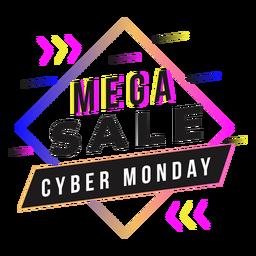 Crachá gradiente de mega venda Cyber Monday