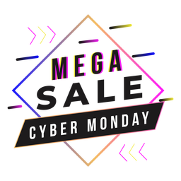 Cyber monday mega sale gradient badge