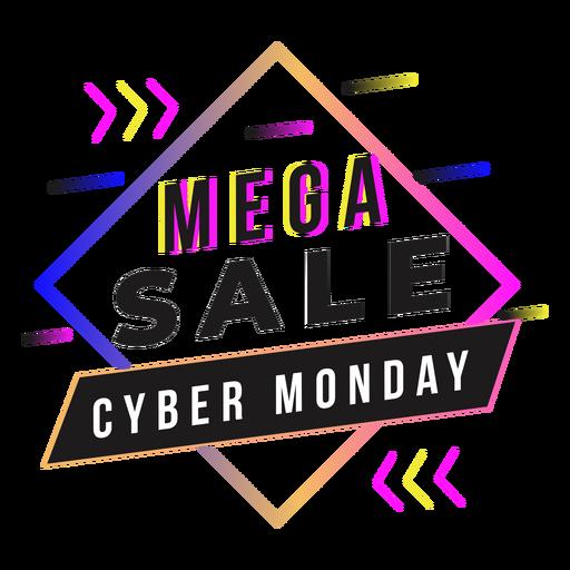 Cyber monday mega sale gradient badge Transparent PNG