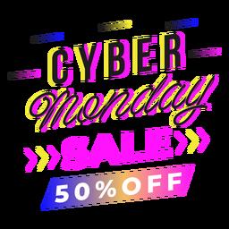 Emblema gradiente da promoção Cyber Monday