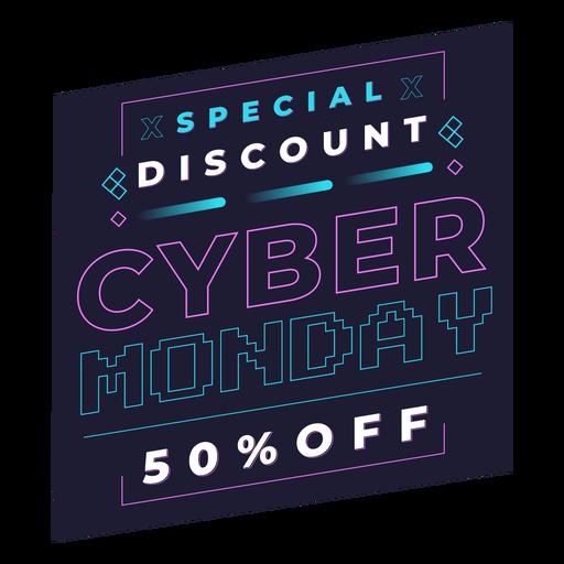 Cyber monday discount pixel badge Transparent PNG