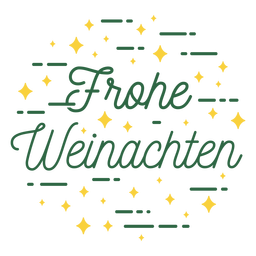 Merry christmas german sparkly lettering