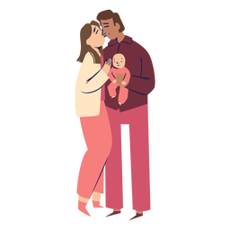 Parents kissing characters