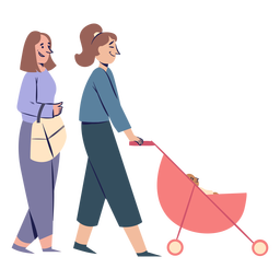 Women couple with stroller characters