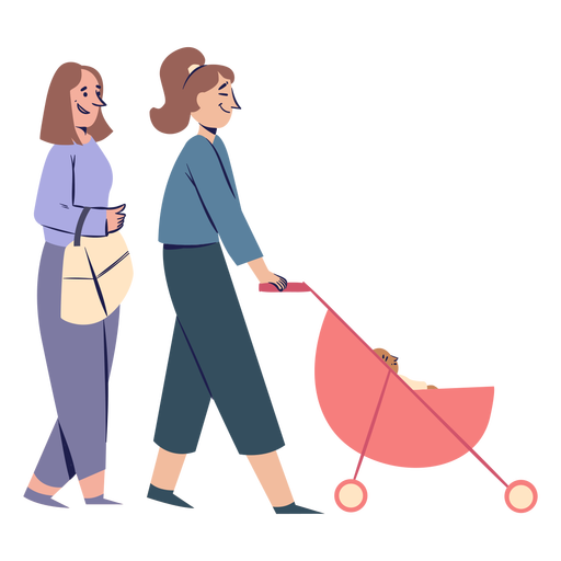 Women couple with stroller characters Transparent PNG