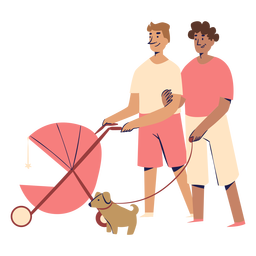 Male couple with stroller characters