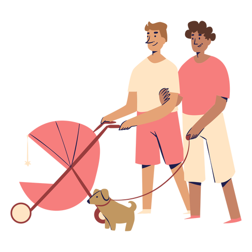 Male couple with stroller characters Transparent PNG