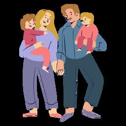 Familia feliz cogidos de la mano personajes