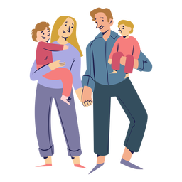 Happy family holding hands characters