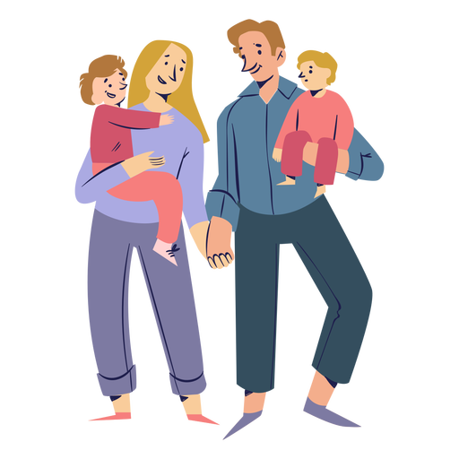 Happy family holding hands characters Transparent PNG