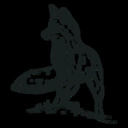 Animal raposa desenhado à mão