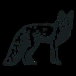 Raposa fofa animal desenhada à mão