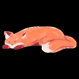 Aquarela de raposa adormecida