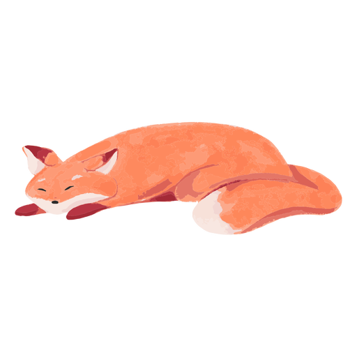 Sleeping fox watercolor Transparent PNG