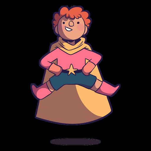 Personaje volador de niño superhéroe