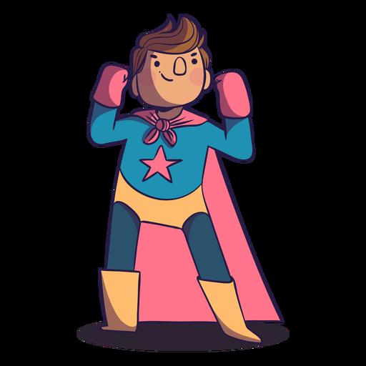Personaje de niño de pose de superhéroe