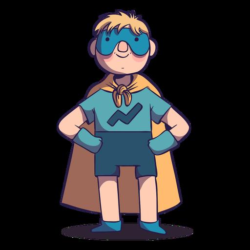 Niño superhéroe con personaje de máscara.