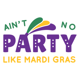 Mardi gras party lettering
