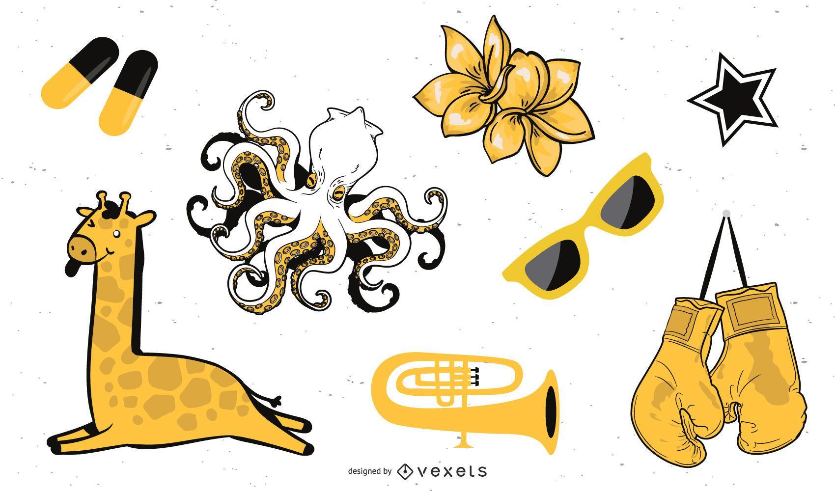 Mixed Black and Yellow Vectors