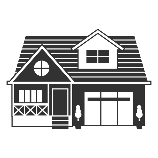 Simple house with garage icon