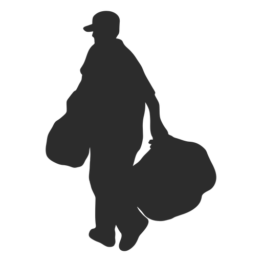 Man carrying garbage bags silhouette