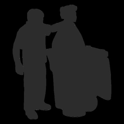 Man taking out garbage silhouette