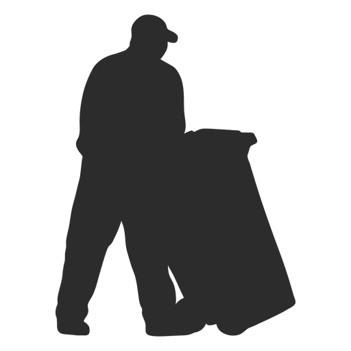 Man carrying garbage container silhouette