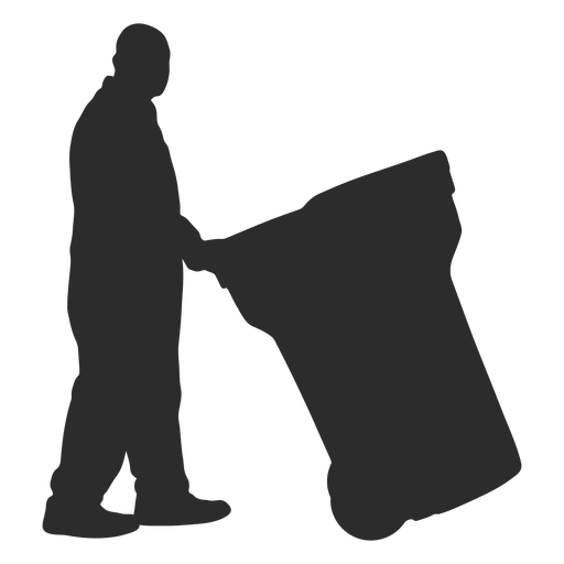 Man with garbage container silhouette