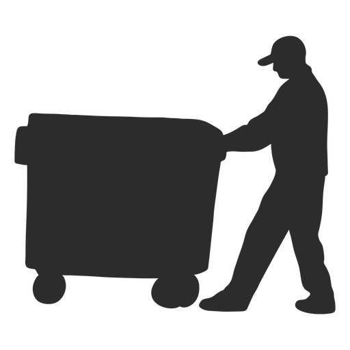 Man carrying container silhouette