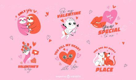 Conjunto de insignias románticas de san valentín