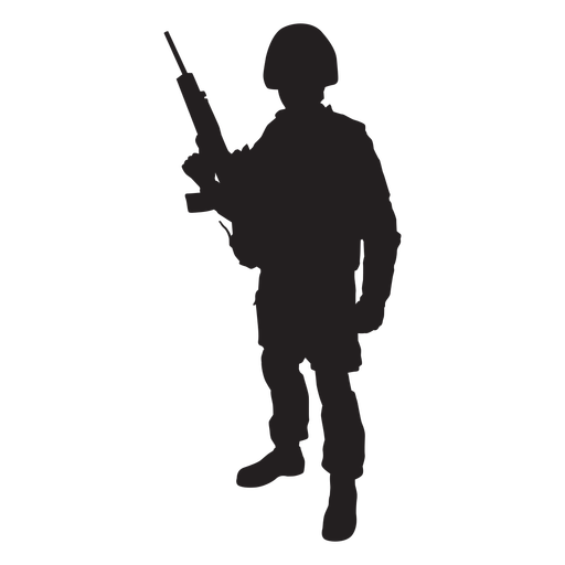 Standing soldier with weapon silhouett