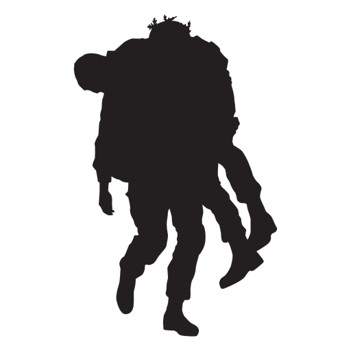 Sodier silhouette carrying wounded