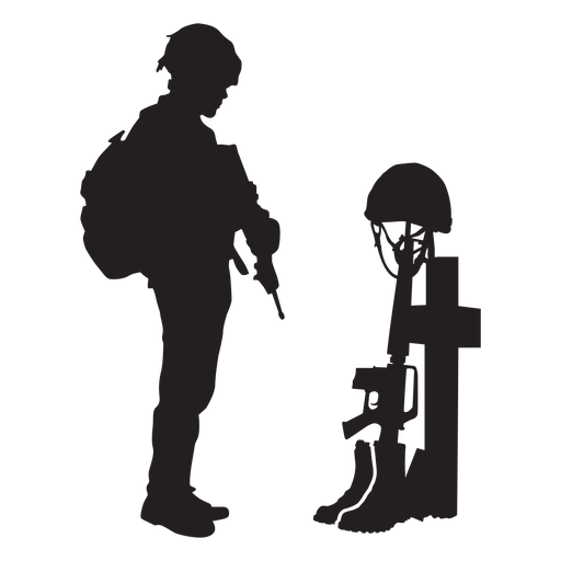 Standing soldier in grave silhouette