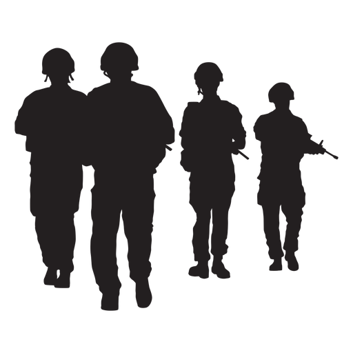 Frontal walking soldiers silhouettes