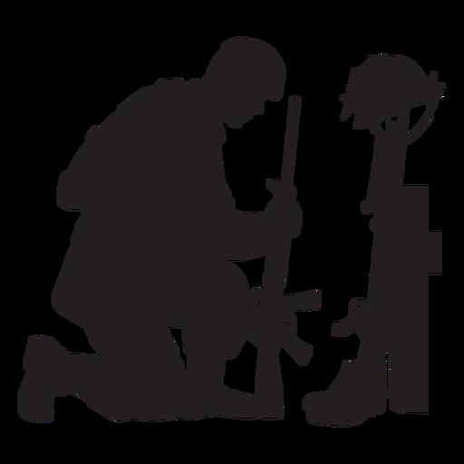 Kneeling soldier silhouette